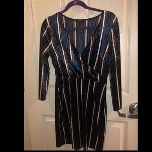 Forever 21 Velvet Striped Dress